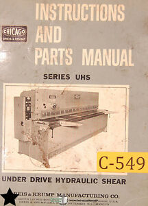 Chicago Dries Krump Uhs Series Shear Instructions Parts And Wiring Manual