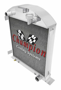 1917 1927 Model A With Chevy Config Aluminum 3 Row Dr Champion Radiator