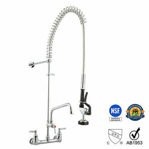 12 Commercial Stainless Wall Mounted Pre rinse Faucet W Add on Kitchen Hotel