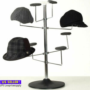 New Retail Counter Hat Display Rack chrome Finish W black Plastic Base