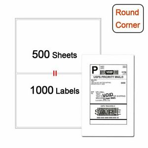 Shipping Labels Half Sheet 1000 Self Adhesive 8 5x5 5 Round Corner Blank Label