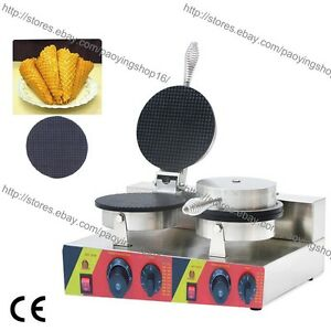 Commercial Nonstick Electric Dual Ice Cream Cone Waffle Maker Iron Baker Machine
