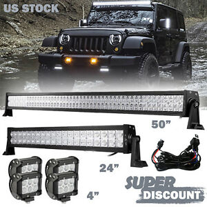 50 24inch Led Light Bar 4x 4inch Cree Work Pods Offroad Suv 4wd Ford Jeep 52