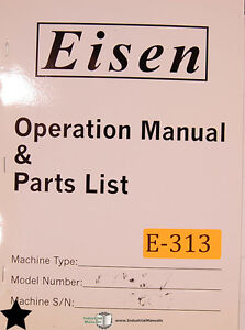 Eisen Cp 27 Finishing Machine Parts List Manual