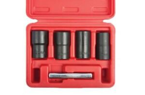 5 Pc Twist Socket Set 4 Damaged Worn Lug Nut And Lock Remover 17 19 21 22mm