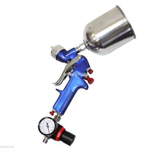 New Hvlp 1 7mm Spray Gun Gravity Feed With Air Regulator Paint Primer Nozzle