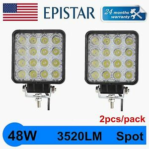 2pcs 48w 12v 24v Led Work Light Spot Light Offroad Atv Suv 4 3 Jeep Truck Quin