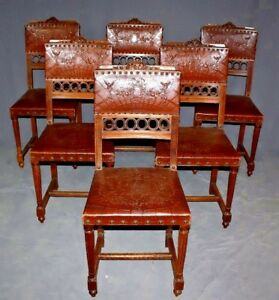 19th Century French Louis Xvi Carved Walnut Tooled Leather Chairs Set Of Six