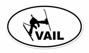 Vail Skier Skiing Oval Car Window Bumper Sticker Decal 5 X 3