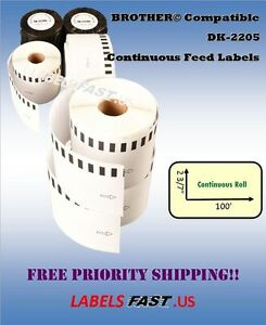 Continuous Labels Compatible W Brother 1 200 Rolls Dk 2205 Lowest Prices