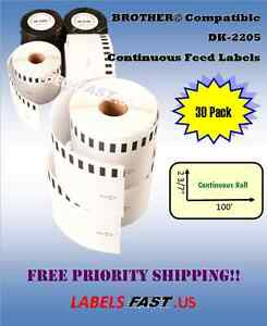 30 Rolls 62mm Continuous Compatible For Brother Dk2205 Labels For Ql 700 Ql 500