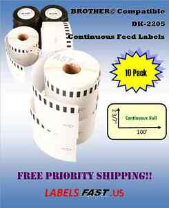 10 Rolls Brother Dk2205 White Continuous Label Ql 500 550 570 580n 650td Printer