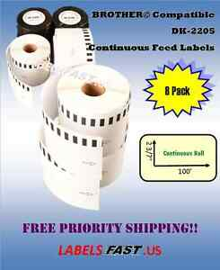 Internet Shipping 8 Rolls 62mm Compatible For Brother Dk2205 Continuous Labels