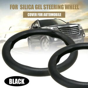 New Car Leather Texture Soft Silicone Steering Wheel Cover 36 40cm Black