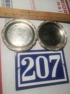 Vtg Pair Decorative Silver Plated Ep On Steel 4 Coaster Nice Patina Pre Owned