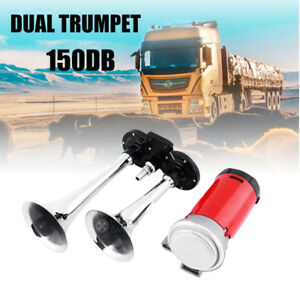 12v Dual Trumpet Air Horn Compressor Kit For Van Train Car Truck Boat 150db