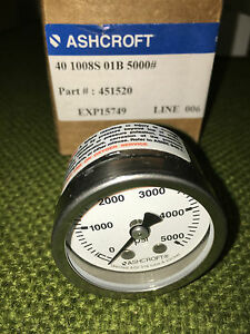 Ashcroft 5 000psi 1 5 Gauge Pt 451520 new 8