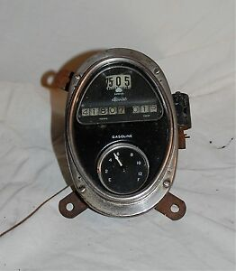 Vintage Antique Stewart Speedometer Gas Fuel Gauge Dash Cluster Rat Rod Lincoln