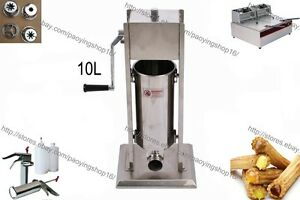 10l Manual Spanish Donuts Churro Machine W 12l Electric Fryer 700ml Filler