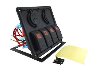12v 24v Dc 4 Gang Waterproof Marine Orange Led Switch Panel