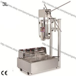 Heavy Duty 3l Vertical Manual Spanish Churro Maker Machine W 12l Electric Fryer
