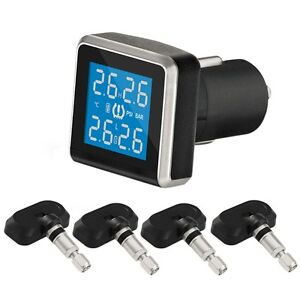 Car Cigarette Lighter Tpms Tire Pressure Monitor System 4 Internal Sensors