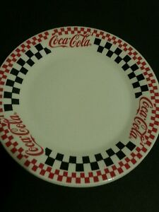 Coca-Cola Red Black u0026 White Checkered dinnerware by Gibson & Best Coca Cola Dinnerware Collectibles