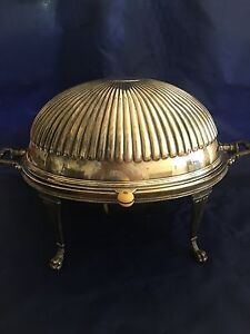Large Revolving Dome Silver Breakfast Warmer Claw Foot England C