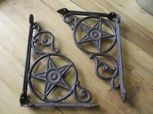2 Cast Iron Antique Star Brackets Garden Braces Shelf Bracket Rustic Vintage Wow