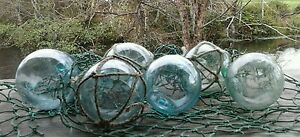 Japanese Glass Fishing Floats 2 Mixed Lot 6 3 Netted 3 No Net Tiki Tropical Vtg