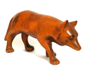 2 Inch Hand Carved Boxwood Netsuke Bronze Tone Walking Wolf