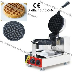 Commercial Nonstick Electric Rotating Round Standard Waffle Machine Maker Baker