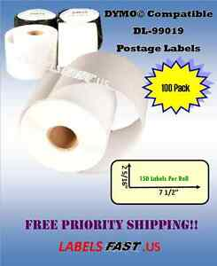 100 Rolls Internet Postage Labels Adhesive Dymo Duo Compatible Waterproof 99019
