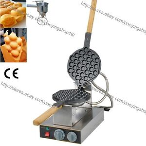 Rotary Nonstick Electric Egg Waffle Baker Bubble Waffle Maker Iron W Dispenser