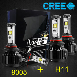 New Cree Led Headlight Kit Bulbs High Low Beam H11 9005 White 6000k 120w 14400lm