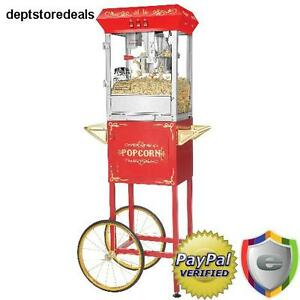 Commercial Antique Retro Style Popcorn Popper Maker Machine Movie Home Shop Cart