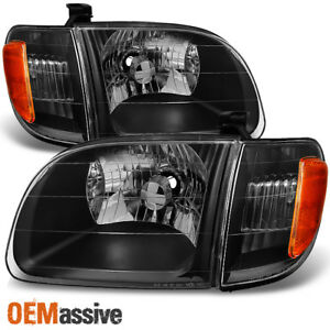 Fits 00 04 Toyota Tundra Regular Access Cab black Headlights W Corner Light