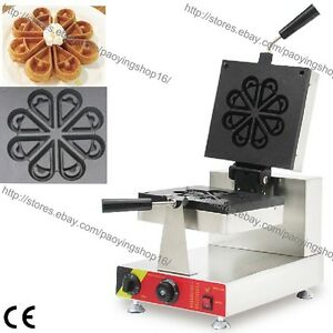 Commercial Nonstick Electric Icecream Rotated Blossom Waffle Maker Baker Machine