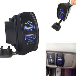 Dual Usb Power Charger Carling Arb Rocker Switch Blue Led Light Car Boat 12v 24v