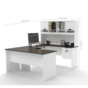 Bestar Innova U shaped Workstation In White And Antigua
