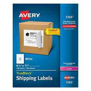 Avery Shipping Labels For Laser Printers 8 5 X 11 Inch White Box Of 100 5165