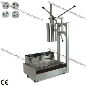 3 hole 4 Nozzles 5l Vertical Manual Spanish Donut Churro Maker Machine Fryer