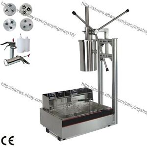 3 hole 4 Nozzles 5l Manual Spanish Donut Churros Machine Maker W Fryer Filler