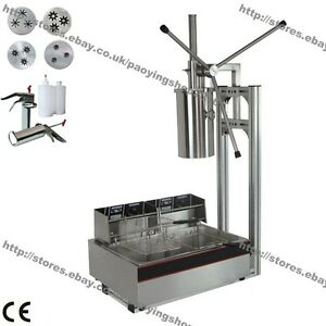 3 hole 4 Nozzles 5l Manual Spanish Donut Churros Maker Machine W Fryer Filler