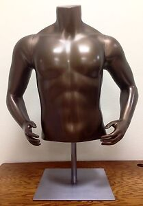 Male Mannequin Torso W Hip Arms Bronze Satin Steel Base