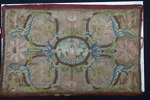 17th Century Italian Metal Thread Table Cover With Mythological Theme