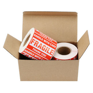 2 Rolls 500 roll 2x3 Fragile Stickers Handle With Care Thank You Mailing Labels