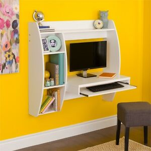 Prepac White Floating Desk With Storage And Keyboard Tray