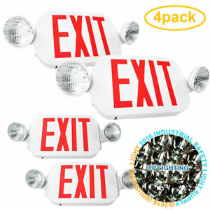 4pack Led Exit Sign Emergency Light High Output Red Compact Combo Ul New