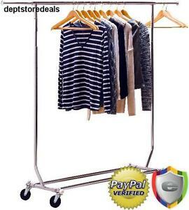 Commercial Rolling Garment Rack Heavy Duty Hanging Clothes Extensible Rod Grade